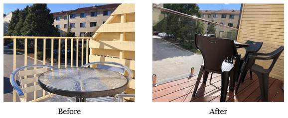 canberra short term holiday accommodation before after balcony renovation balconies outdoor setting